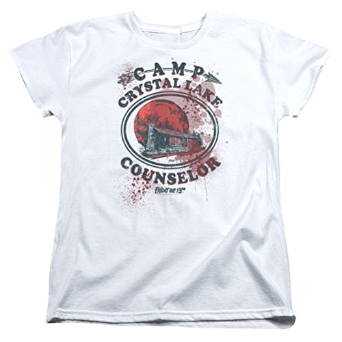 A&E Designs Ladies Friday The 13TH Camp Crystal Lake Counselor Victim Shirt, White, -