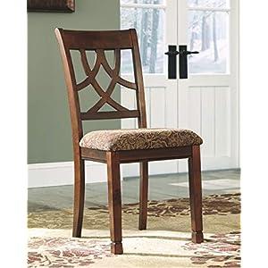 Ashley Furniture Signature Design – Leahlyn Dining Upholstered Side Chair – Pierced Splat Back – Set of 2 – Medium Brown