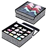 Onlyeasy Closet Underwear Organizer Drawer Divider - Large Fabric Bra Underwear Organizers with Protected Clear Lid, 12.6''x12.6''x4.7'', Linen-Like Black Pattern, 8MXAS16S5