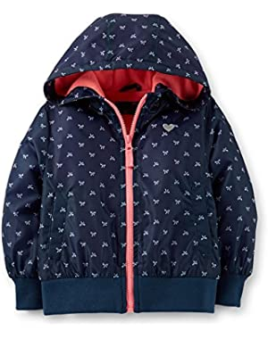 Baby Girls' Fleece Lined Print Bomber Jacket - Blue - 18 Months