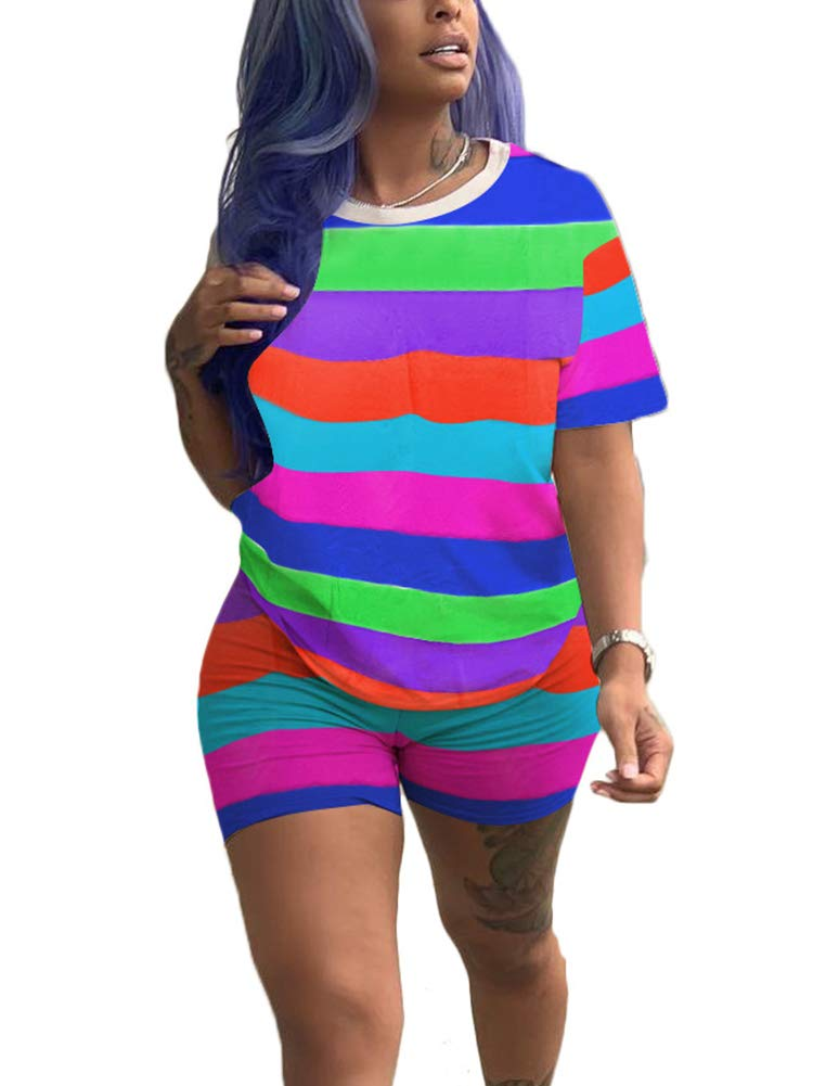 Womens Stripes 2 Piece Outfits Tracksuit - Rainbows Printed Short Sleeve T-Shirt Bodycon Short Pants Clubwear by Uni Clau