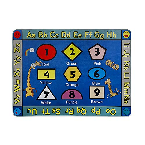 (LISIBOOO Educational Kids Area Rugs, Playtime Collection ABC Numbers Animal Large Carpet Vibrant Alphabet Play Mat, for Children Bedroom Living Room Nursery Classroom (2'7''x3'11'', Shapes Giraffe))