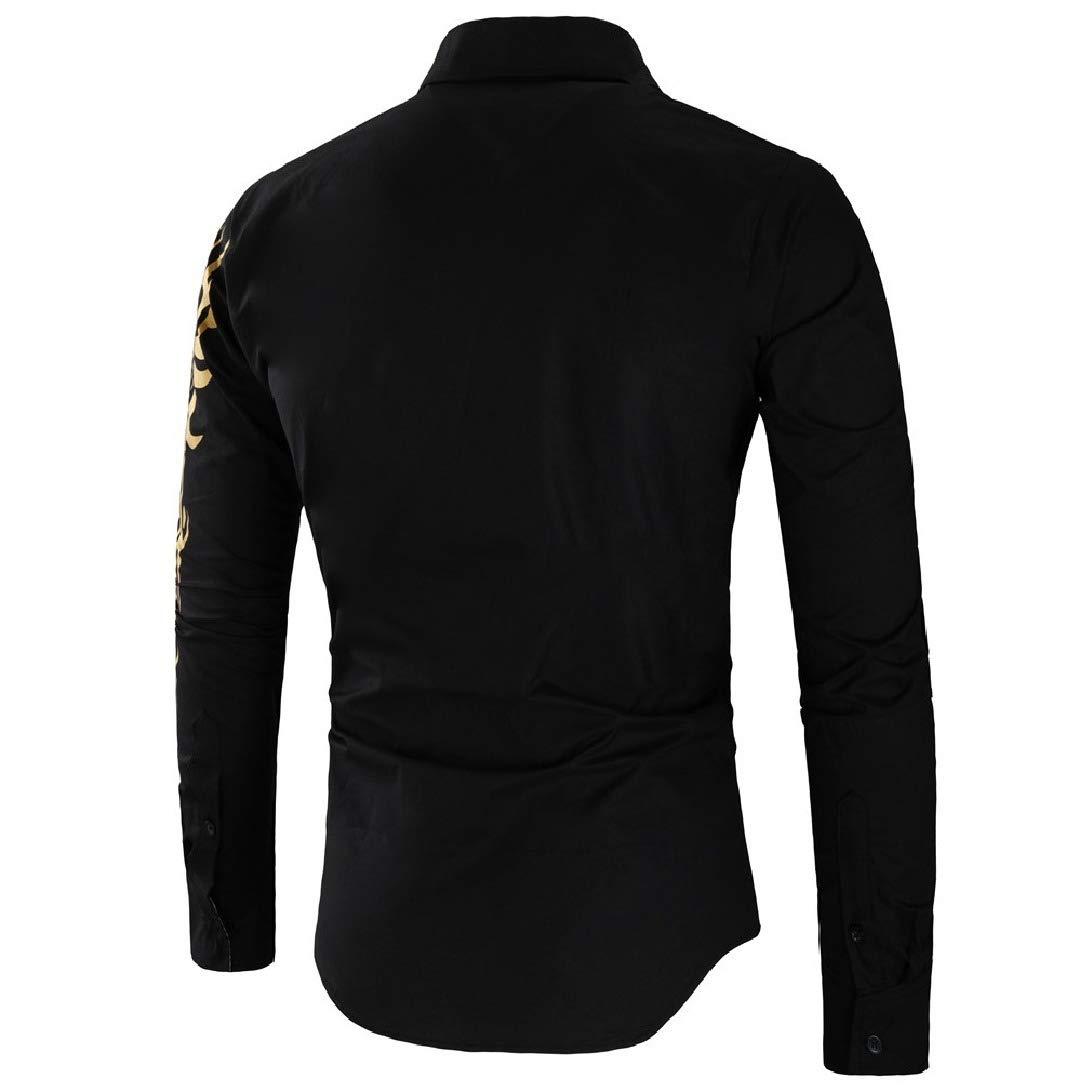 Zimaes-Men Floral Western Shirt Long Sleeve Buttoned Bronzing Skinny Blouse