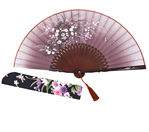 Amajiji 8.27 Beautiful hand-crafted Chinese Japanese hand held folding fan with first-class bamboo spins and traditonal silk fabrics HBSY (004)