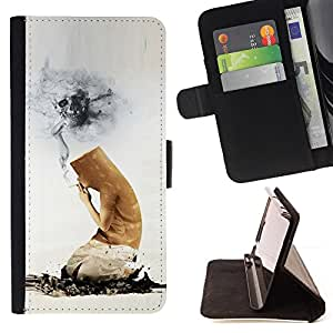 For HTC One M8,S-type Cigarrillos divertido Butt Muerte- Dibujo PU billetera de cuero Funda Case Caso de la piel de la bolsa protectora