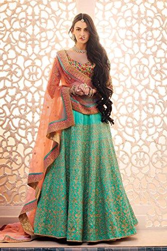 Da Facioun Womens Dupioni Raw Silk Fabric Turquoise Pretty Circular Lehenga Style 83828