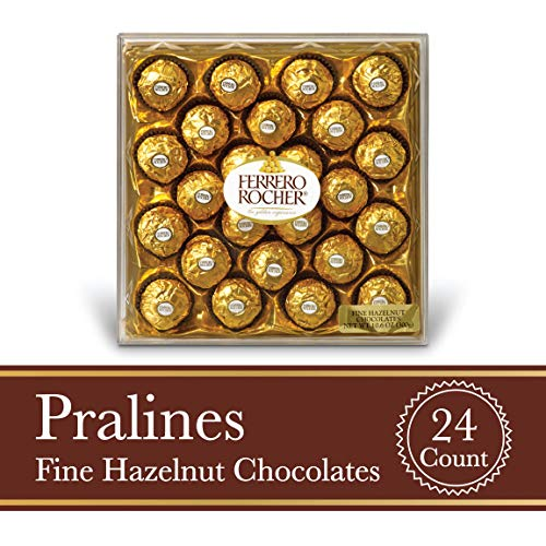 Ferrero Rocher Fine Hazelnut Milk Chocolate, 24 Count, Chocolate Candy Gift Box, Mother's Day Gifts, 10.5 -