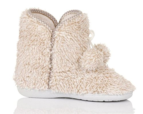 Bow UK Small Boots Sole Cream with Loungeable Ladies 3 4 Slipper Luxury Soft Fleece Ultra Hard p7OvPq