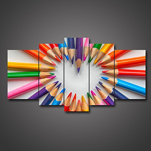 5 Piece Variety Colorful Eyebrow Pencil Crayon Gathered Together Round Heart Shape Love Romance Giclee Paintings On Canvas Framed Hanging Home Decoration Living Room Office Wall Artwork by uLinked Art