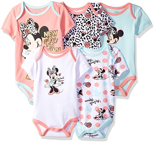 Disney Baby Girls Minnie Mouse 5 Pack Bodysuits, Multi/Salmon Rose Pink, 18M (18 Roses Assorted)