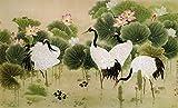 Modern Canvas Wall Art Chinese Crane Love Birds Home Decor Wall Art Framed