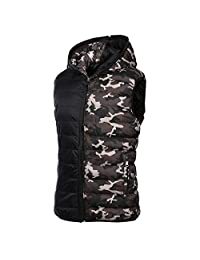 COUTUDI Men's Outdoor Reversible Camo Winter Vest, Fashion Sleeveless Quilted Jacket