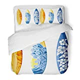 Emvency Bedding Duvet Cover Set Full/Queen Size (1 Duvet Cover + 2 Pillowcase) Blue Surf Surfboards White Yellow Board Hibiscus Sea Surfer Hawaii Wave Beach Hotel Quality Wrinkle