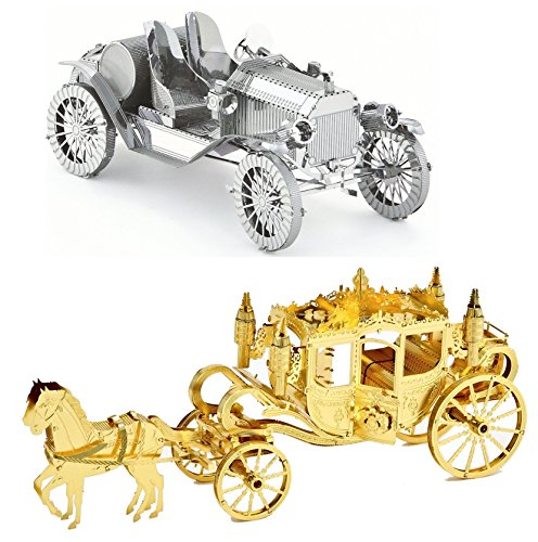 3D Metal Puzzle Models Of A Royal Carriage And A Vintage Car - DIY Toy Metal Sheets Assembling Puzzle, 3D puzzle – 2 (Horse Carriage Model)