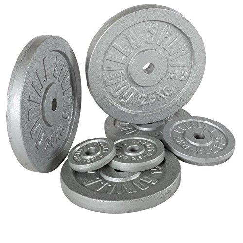 Gorilla Sports 2x 10KG 2x 5KG Cast Iron Weight Plate Set Colour Silver
