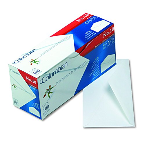 Columbian CO196 Gummed Seal Business Envelope, 10, 4 1/8 x 9 1/2, White (Box of 100) ()