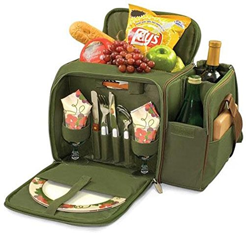 - Picnic Time Malibu Insulated Cooler Picnic Tote with Service for 2, Pine Green