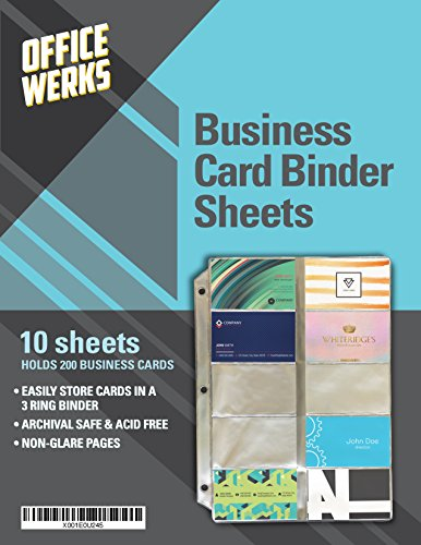 Business Card Sheet Protectors, Refill Sheets for 3 Ring Binder, 10 Pack, Clear, 20 Cards Per Sheet