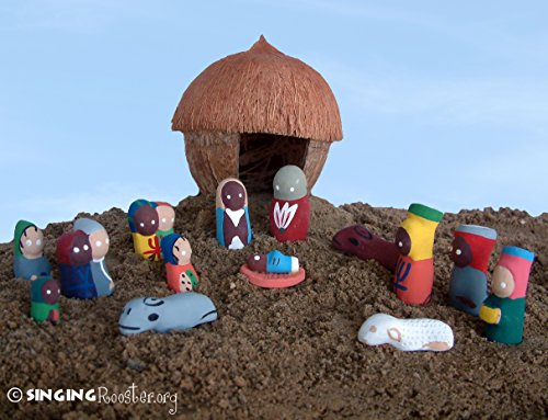 Coconut Christmas Nativity, Handmade Fair Trade Art