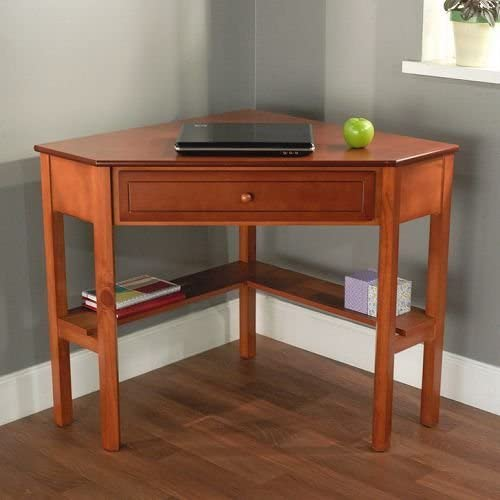 Cherry Wood Corner Computer Desk. This Laptop Desk Is Perfect For Small Computers And Space Saving Efficiency. Each Wood Desk Features A Single Drawer And Two Shelves For Convenient Storage. Add This Office Desk To Your Home Office Furniture.