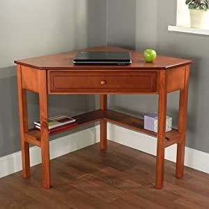 Cherry wood corner computer desk this laptop - Corner desk for small space ...