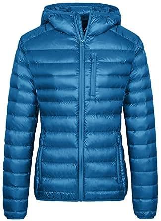 Wantdo Women's Lightweight Packable Down Jacket Hooded Insulated Coat Acid Blue,Medium
