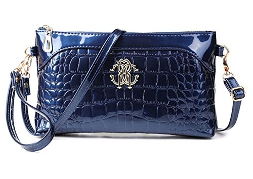 Tiny Chou Women's Crocodile Print Glossy Faux Leather Handbag Wristlet Clutch Wallet Crossbody Bag - Faux Crocodile Skin Handbag