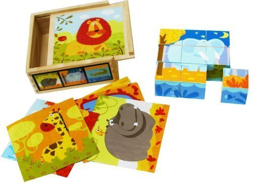 Wooden Blocks Cube Puzzles Toddler - Wooden Cube Block Jigsaw Puzzles 9 Cubes of 6 Wild Animals in a Wooden Box- Wooden Toys 2 Year Old