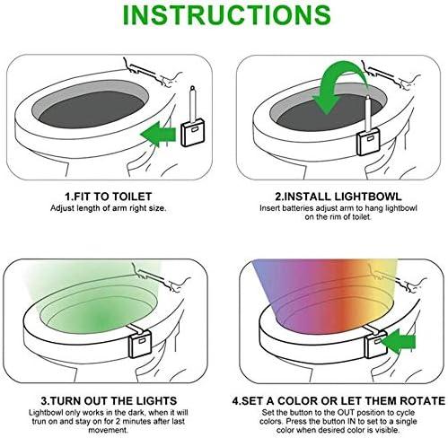 Intelligenter PIR-Sensor Toilettenlicht Toilettenbeleuchtung MathRose LED toilettenlicht 8 Farbe wasserdicht Toilette Beleuchtung Licht Toilette Licht WC Nachtlicht LED Lampe