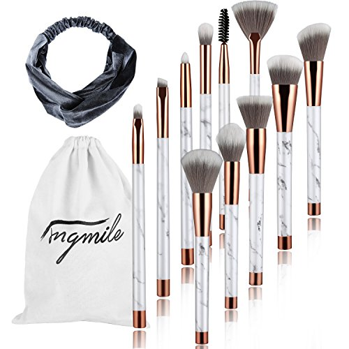 gmile 11 Pcs Marble Makeup Brushes for Women Include Foundation Powder Blush Eyeshadow Brush for Daily Makeup (Marble Flannel)