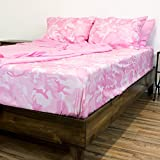 6 Piece Microfiber Camouflage Sheet Set, Queen, Pink