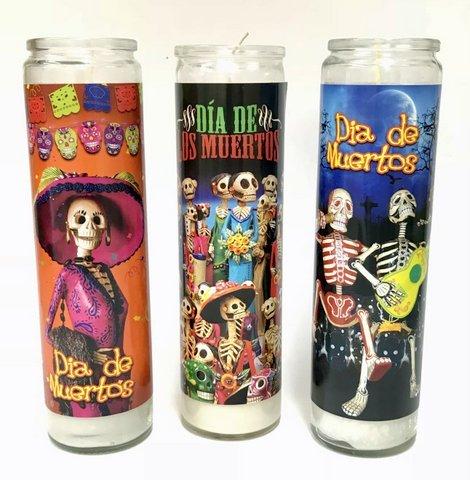 Veladora Catrinas Dia de los Muertos Candle - Pack of 3 ()