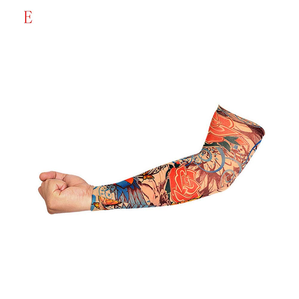 1Pc Elastic Temporary Tattoo Sleeve Tattoo Sleeves Cover up Tattoo Arm Sleeves for Men UV Protection Nylon Unisex Stretchable Cosplay Costume Accessories - Pattern Random (E)