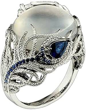 Ximandi Silver Feather Ring Moonstone Treasure Sapphire Diamond Wedding Band Ring