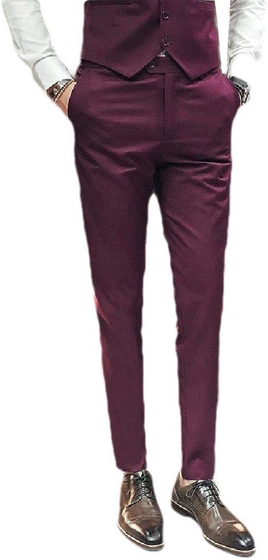 Candiyer Men's Casual Leisure Gentleman Business Straight-Fit Plain Front Pant