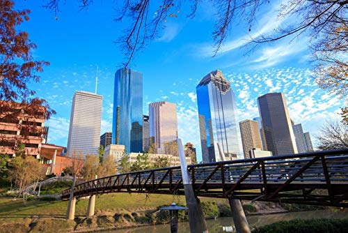 Houston, Texas - View of Downtown Buildings - Photography A-93770 (24x36 Giclee Gallery Print, Wall Decor Travel Poster)