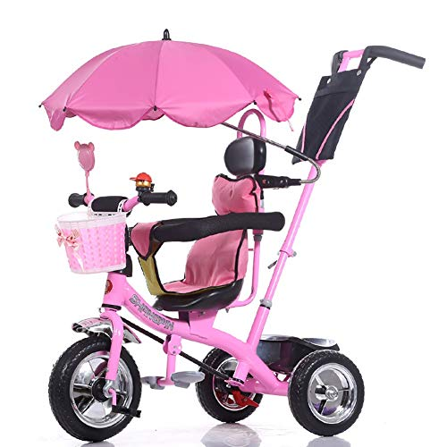 Tricycle Pink Baby with Push Handle & Sun Canopy, Lightweight Stroller with Storage Bin for Travel, Age 1-6 Years Old