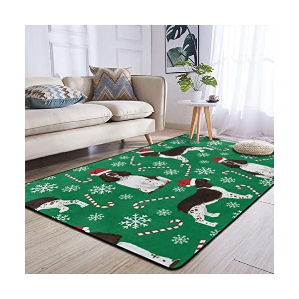 Super Soft Modern English Springer Spaniel Santa Christmas Area Rugs Living Room Carpet Bedroom Rug for Children Play Solid Home Decorator Floor Rug and Carpets 210 x 150 cm 4