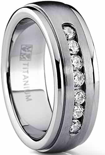 Mens 0.48ct IOF CZ 2-Tone Wedding Band Ring Titanium and IP Gold-Tone Finish 3276A 1000 Jewels Norton
