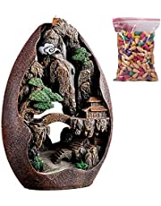 wuxiaobo Backflow Incense Holder Waterfall Incense Burner, Resin Aromatherapy Ornament Home Decor with 50 Backflow Incense Cones (8.8x12.4in)