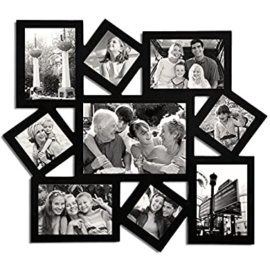 Adeco [PF0009] Decorative Black Wood Wall Hanging Collage Picture Photo Frame, Cluster, 9 Openings, Various Sizes - 3x3, 3.5x5, 5x3.5, 5x7 inches