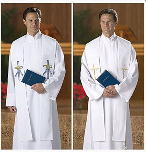 Reversible Baptismal and Wedding Stole. This exclusively designed stole has symbols for both wedding and baptism embroidered on opposite sides (Embroidered Surplice)