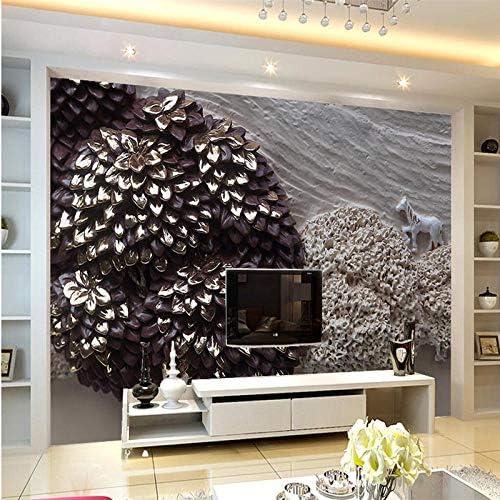 Ljjlm 3D風景画レリーフ石膏風景画レリーフ壁背景カスタム大フレスコ画グリーン壁紙-260X180Cm