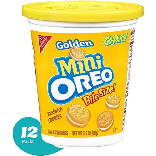 Oreo Mini Golden Sandwich Cookies  GoPak Cup 35 Ounce Pack of 12