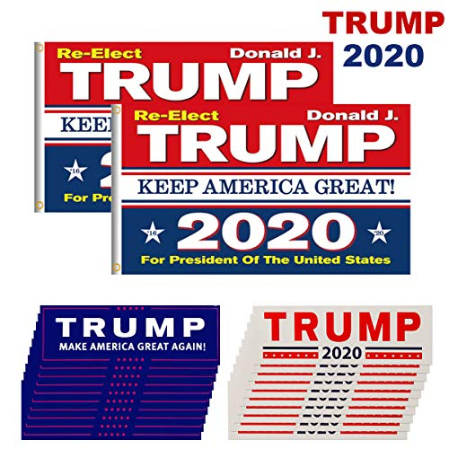 Homtable 2 Pack Trump 2020 Flags, Keep America Great Flag 3 X 5 Feet with Grommets and 20 Pieces Car Bumper Stickers Supporting Re-Elect Donald Trump