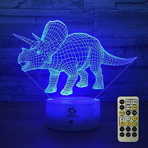 WOHOME 3D Night Lights for Kids, Baby Bedside Lamp 7 Colors Changing Touch Switch Remote Control with Remote, Optical Illusion Night Lights Birthday Gifts for Girls Kids Baby Boys(Triceratops)