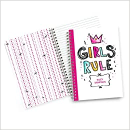 A4 Personalized Custom Spiral Notebook Student School Any Quote! Wide Rule Office Supplies Any Initial