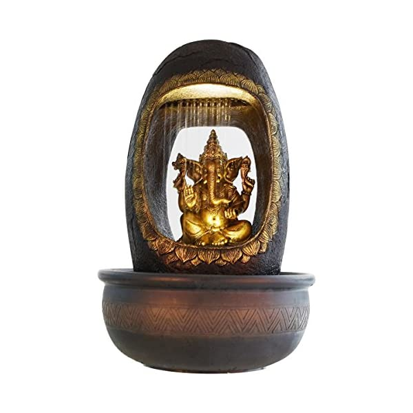 Lord Ganesh and Round Textured Polystone Water Fountain by eCraftIndia