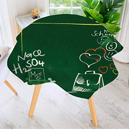 Leighhome Table Decoration Durable- Green Chalkboard Background Back to School Doodles for Home Kitchen Dining roomWaterproof Coffee Tablecloth 50