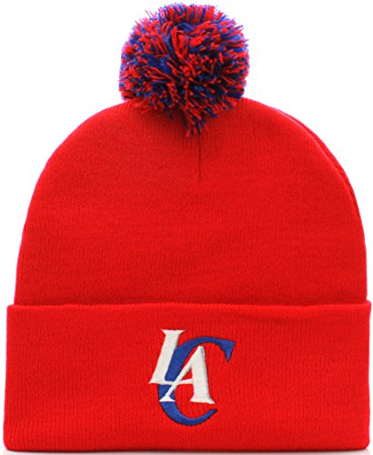 NBA Los Angeles Clippers Cuff Pom Pom Beanie Knit Hat Cap (One Size, Red) by NBA